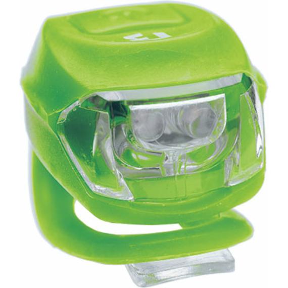 Lámpa BIKEFUN PIXIE hátsó 2 piros LED 2 funkció, szilikon, ZÖLD