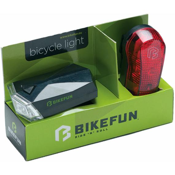 Lámpa BIKEFUN SQUARE szett E+H 4+3 LED - JY-585+JY-173T